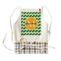Yellow Monogram Green Chevron Patchwork Pattern Zazzle HEART Apron