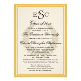 Yellow Monogram Laurel Classic College Graduation 4.5x6.25 Paper Invitation Card