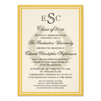 Yellow Monogram Laurel Classic College Graduation Card
