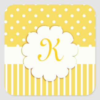 Yellow Monogram with Polka Dots and Stripes Square Stickers