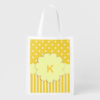 Yellow Monogram with Polka Dots Grocery Bag
