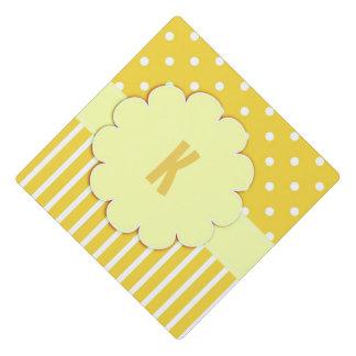 Yellow Monogram With Polka Dots Tassel Topper Graduation Cap Topper