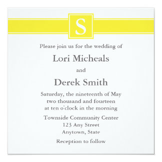 Yellow Monogrammed Wedding Announcements