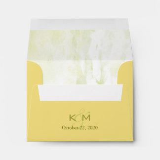 Yellow Monogrammed Wedding Invitation A2 Envelopes