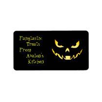 Yellow Monster Halloween Treats Baking Label Address Label