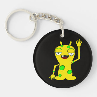 Yellow Monster with Green Spots Waving Hello Single-Sided Round Acrylic Keychain