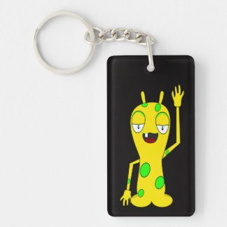 Yellow Monster with Green Spots Waving Hello Keychain