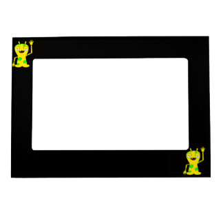 Yellow Monster with Green Spots Waving Hello Magnetic Photo Frame