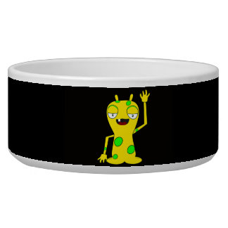 Yellow Monster with Green Spots Waving Hello Dog Bowl