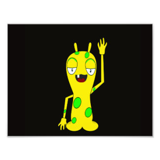 Yellow Monster with Green Spots Waving Hello Photo Art