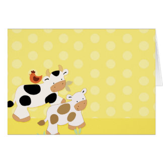 Yellow Moo Cows Note Card