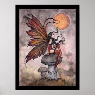 Yellow Moon  Autumn Fairy Poster Print