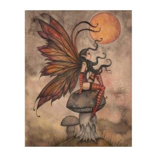 Yellow Moon of Autumn Fairy Fantasy Art Wood Canvases