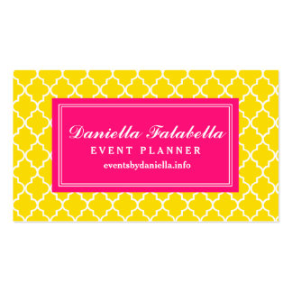 Yellow Moroccan Tiles Lattice Personalized Double-Sided Standard Business Cards (Pack Of 100)
