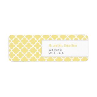 Yellow Moroccan Tiles Return Address Label