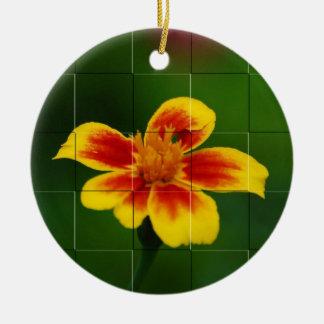 Yellow mosaic, target ceramic ornament