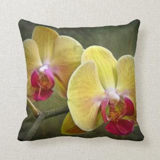 Yellow Moth Orchids - Phalaenopsis Throw Pillows