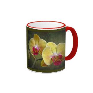 Yellow Moth Orchids - Phalaenopsis Ringer Coffee Mug
