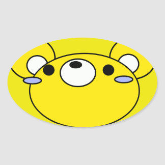 yellow mouse cartoon face oval sticker