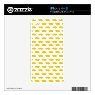 Yellow Moustaches Decals For iPhone 4