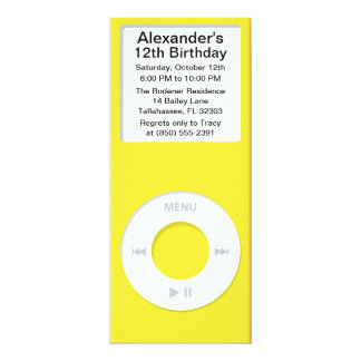 Yellow MP3 Player iParty Birthday Party Card