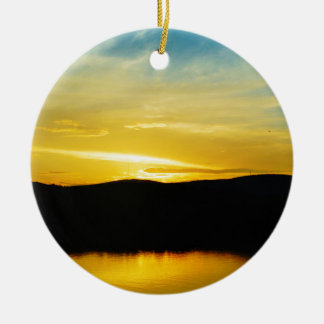 Yellow Mt Lake Sunset Ceramic Ornament
