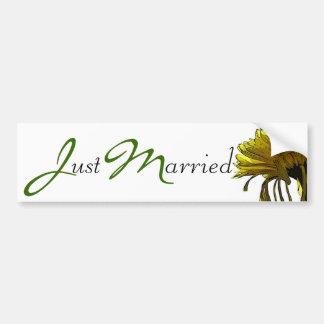 Yellow Mum Just Married Car Bumper Sticker