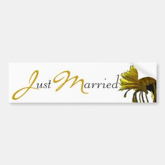 Yellow Mum Just Married - Yellow/Black text Car Bumper Sticker