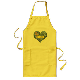 Yellow Mum Love Heart With Butterfly Long Apron