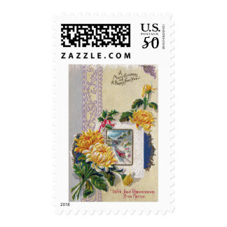 Yellow Mums Vintage Xmas and New Year Postage