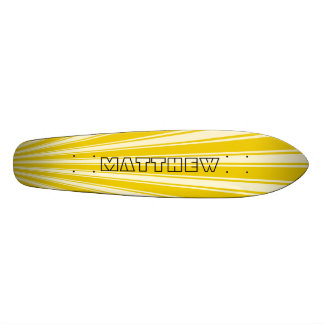 Yellow (Munsell) Color Stripe Funky Pattern Skateboard