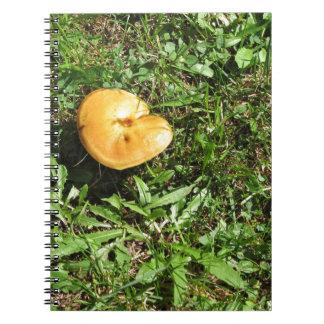 Yellow mushroom on a green meadow spiral notebook