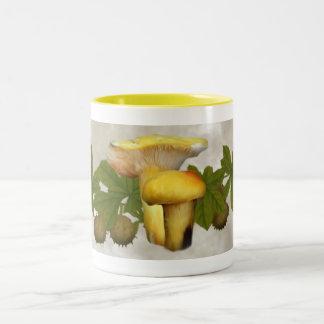 Yellow Mushrooms with Seed Pods Drinkware Two-Tone Coffee Mug