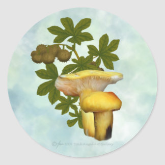 Yellow Mushrooms with seed pods stickers