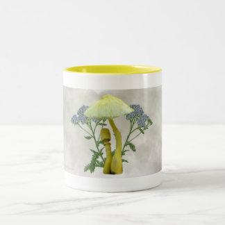 Yellow Mushrooms with tiny blue flowers Drinkware Two-Tone Coffee Mug