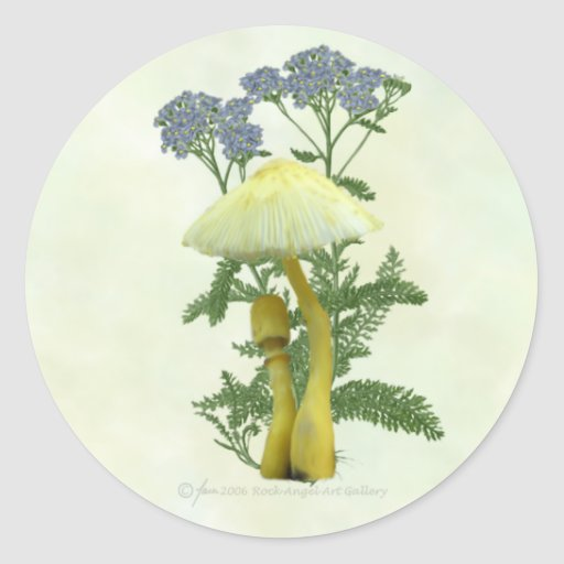 Yellow Mushrooms with tiny blue flowers Stickers