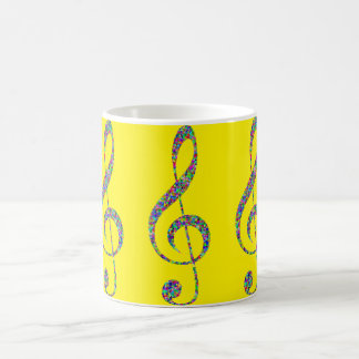 Yellow Musical note Image Classic White Mug