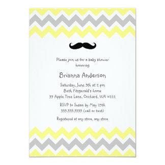 Yellow Mustache Baby Shower Invites