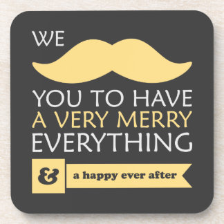 Yellow Mustache Merry Everything Holiday Beverage Coaster