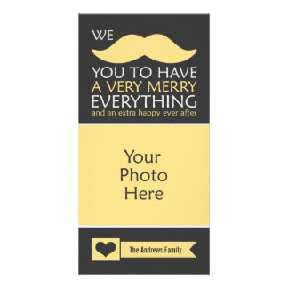 Yellow Mustache Merry Everything Holiday Photo Card