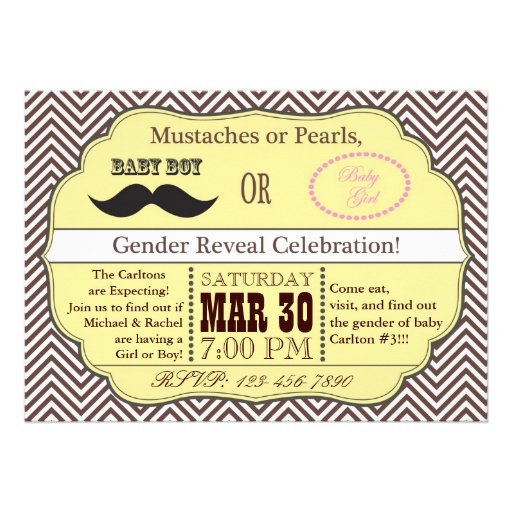 Yellow Mustache or Pearls Gender Reveal Invitation
