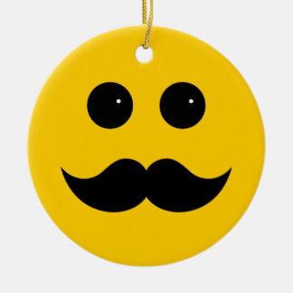 Yellow Mustache Smiley Emoticon Ceramic Ornament