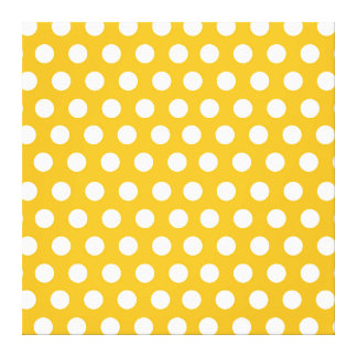 Yellow Mustard Color Polka Dots Pattern Design Canvas Print