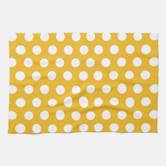 Yellow Mustard Color Polka Dots Pattern Design Kitchen Towel