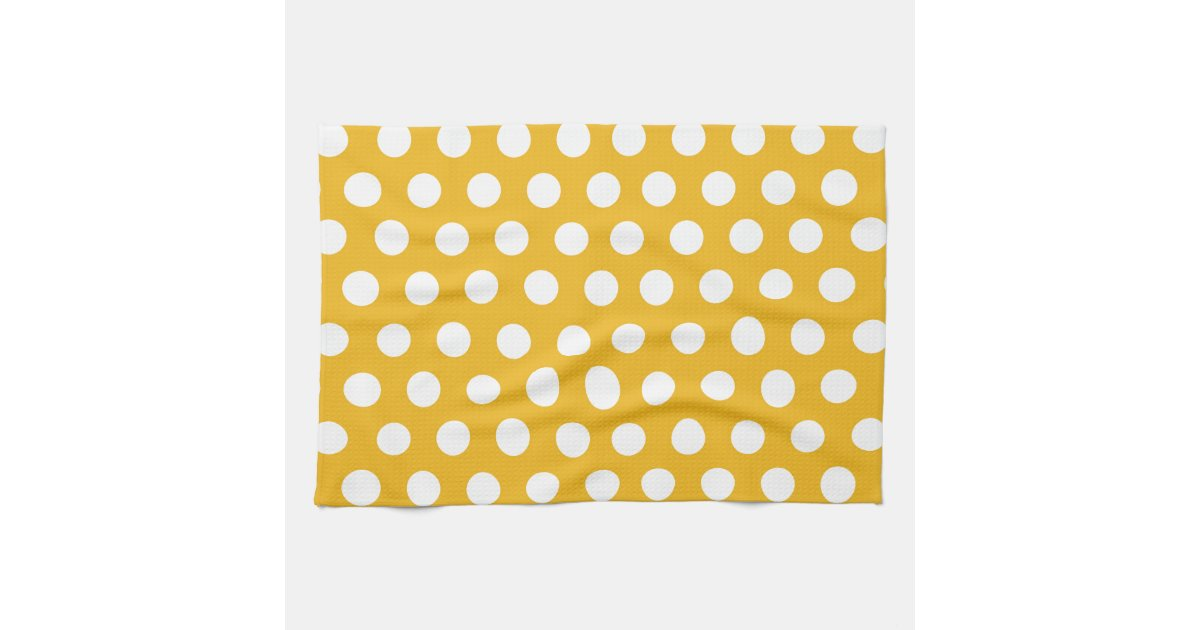 Yellow Mustard Color Polka Dots Pattern Design Kitchen Towels Zazzle