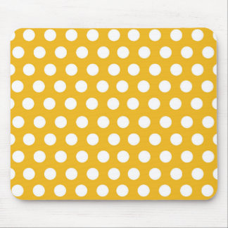 Yellow Mustard Color Polka Dots Pattern Design Mouse Pad
