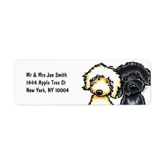 Yellow n Black Labradoodle Return Address Label