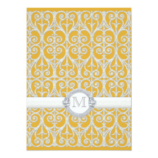 Yellow n Grey Diamonds & Lace, Monogrammed Wedding Personalized Invite