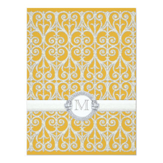 Yellow n Grey Diamonds & Lace, Monogrammed Wedding Personalized Invitation