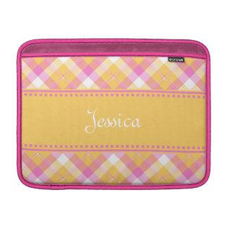 Yellow n Pink Plaid MacBook Air Sleeve 2
